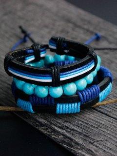 Artuficial Turquoise Leather Woven Bracelet Set - Charm