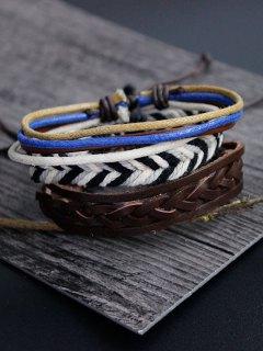 Faux Leather Rope Woven Bracelet Set - Multicolor