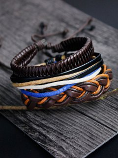 PU Rope Woven Layered Bracelet Set - Multicolor