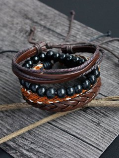 PU Rope Woven Beaded Bracelet Set - Brown