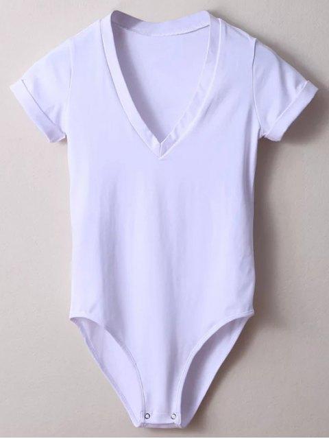 online Skinny Plunging Neck Bodysuit - WHITE S Mobile