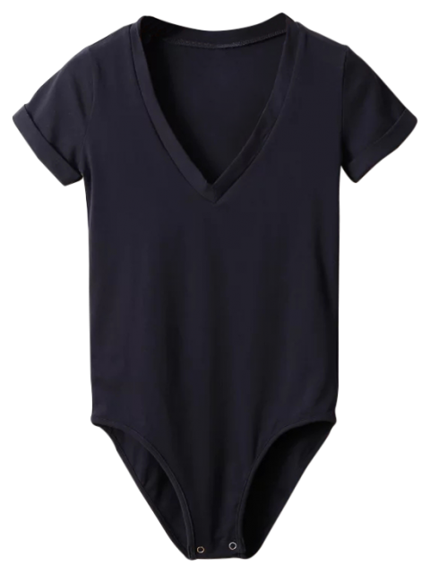 hot Skinny Plunging Neck Bodysuit - BLACK S Mobile
