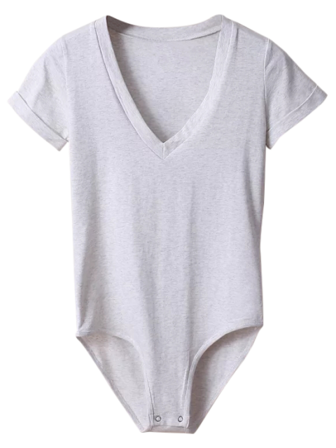 outfits Skinny Plunging Neck Bodysuit - LIGHT GRAY S Mobile