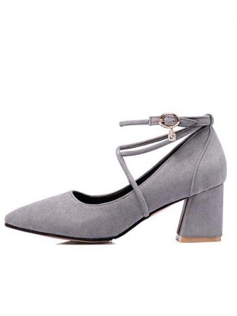 fashion Block Heel Cross Strap Rhinestone Pumps - GRAY 39 Mobile