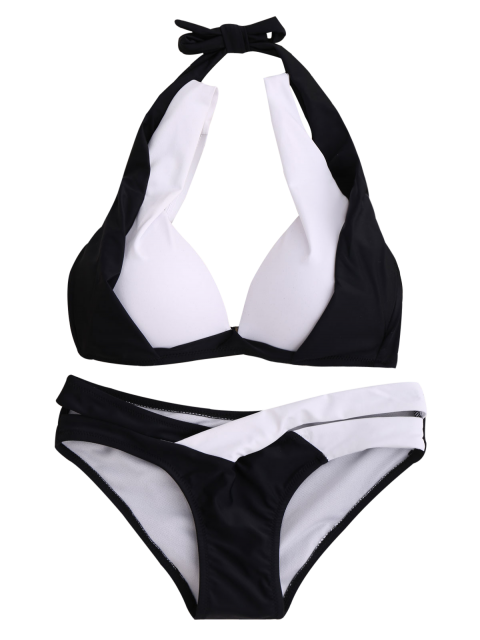 buy Hit Color Halterneck Bikini Bathing Suit - WHITE AND BLACK S Mobile