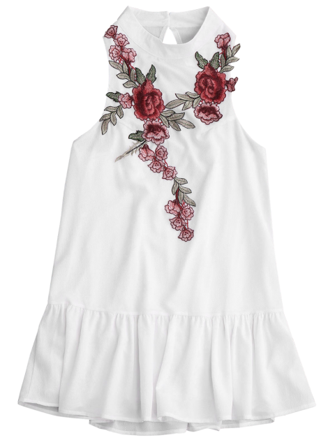 women Patches Frill Hem Mini Dress - WHITE M Mobile