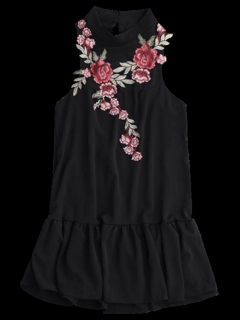 lady Patches Frill Hem Mini Dress - BLACK S Mobile
