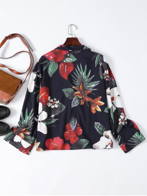 hot Floral Lapel Collar Shirt - FLORAL S Mobile