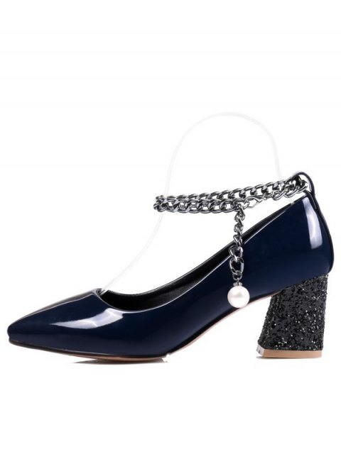 chic Block Heel Chain Faux Pearl Pumps - DEEP BLUE 37 Mobile