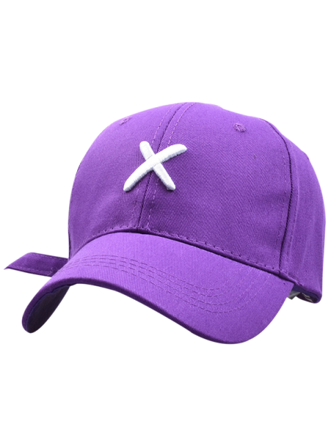 trendy Cross Embroidery Baseball Hat - PURPLE  Mobile