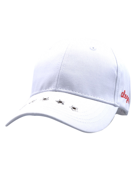 buy Traverse Star Rivet Letters Baseball Cap - WHITE  Mobile