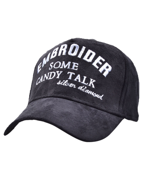 ladies Letters Embroidery Faux Suede Baseball Hat - BLACK  Mobile
