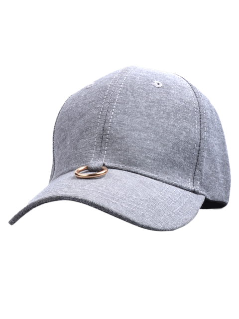 new Metal Ring Embellished Baseball Cap - GRAY  Mobile