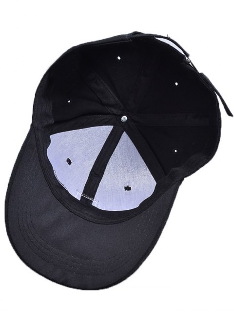 shop Letters Face Embroidery Baseball Hat - BLACK  Mobile