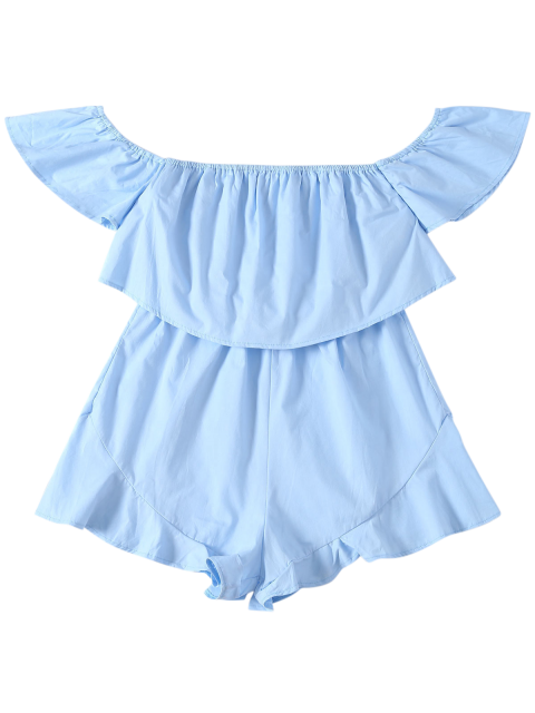 new Frilly Off The Shoulder Beach Romper - BLUE XL Mobile