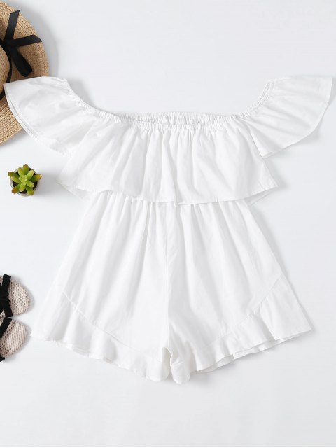 ladies Frilly Off The Shoulder Beach Romper - WHITE XL Mobile