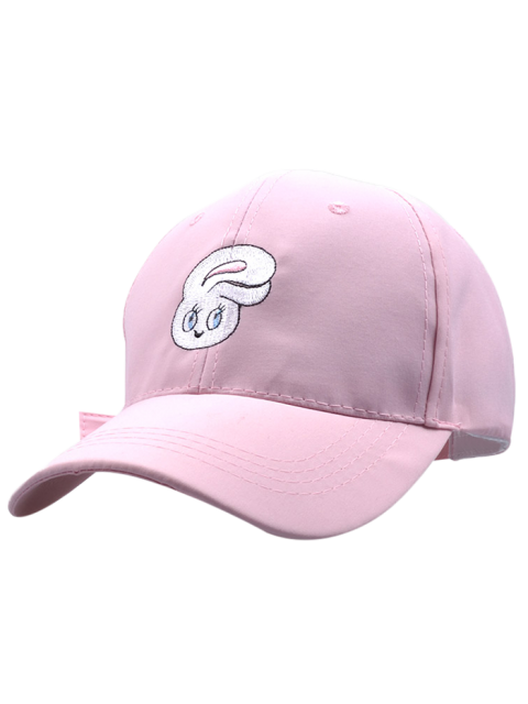 women's Cartoon Rabbit Head Embroidery Baseball Hat - PINK  Mobile