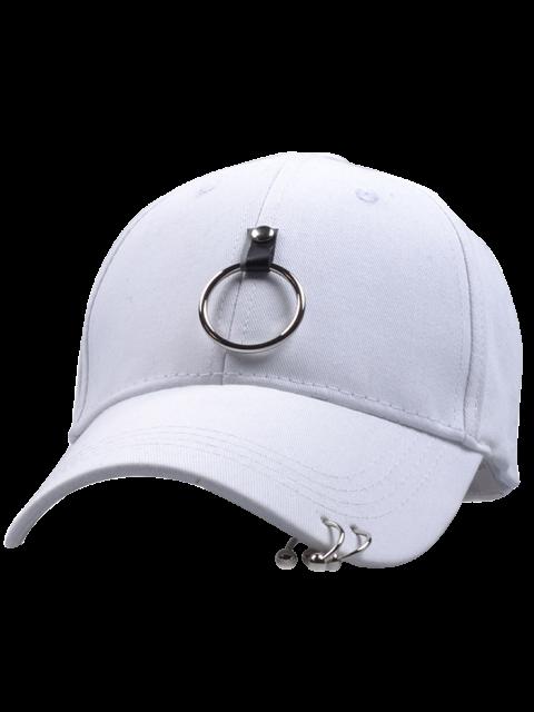 outfit Metal Loop Punk Baseball Hat - WHITE  Mobile