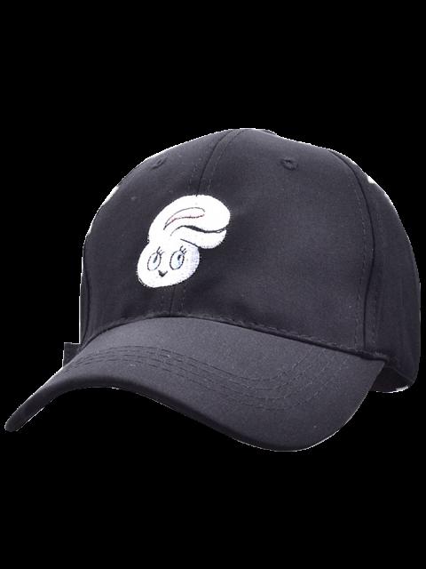 women Cartoon Rabbit Head Embroidery Baseball Hat - BLACK  Mobile