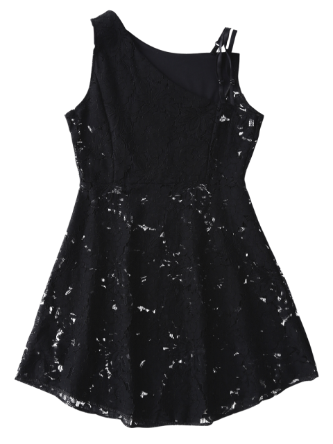 fashion Sleeveless Laser Cut Lace Dress - BLACK XL Mobile