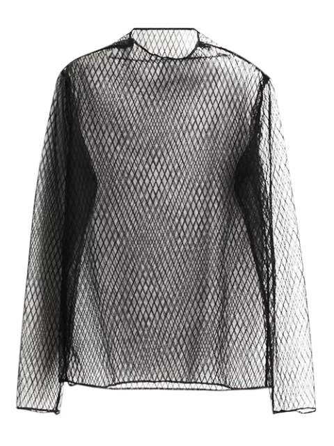 lady Grid See-Through Blouse - BLACK ONE SIZE Mobile