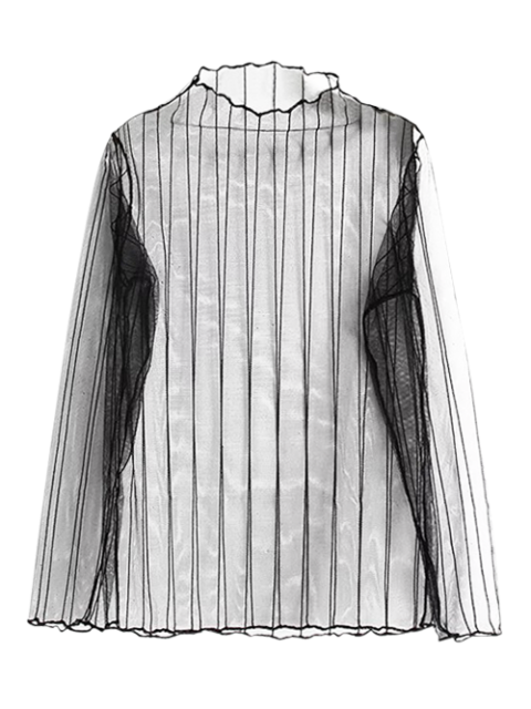 new Striped See-Through Blouse - BLACK ONE SIZE Mobile