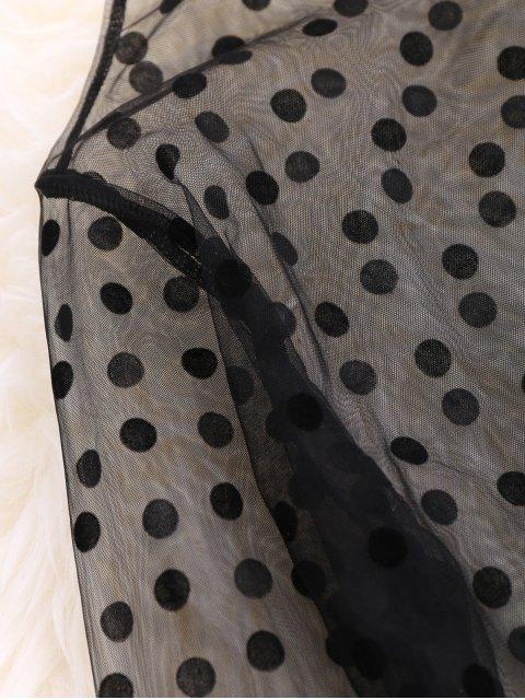 hot Polka Dot See-Through Blouse - BLACK ONE SIZE Mobile