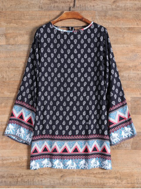affordable Long Sleeve Elephant Printed Dress - BLACK S Mobile