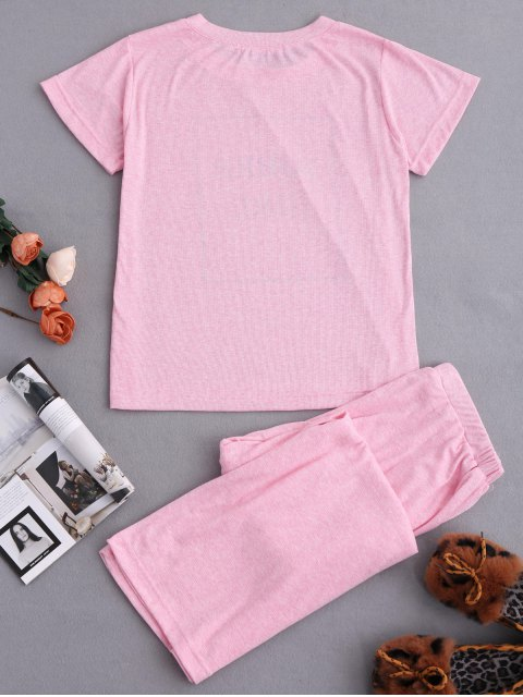 outfits Graphic Top and Wide Leg Pants Sleepwear - BABY PINK XL Mobile