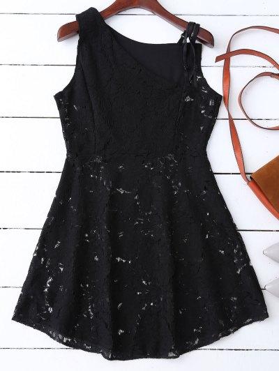 Sleeveless Laser Cut Lace Dress - Black