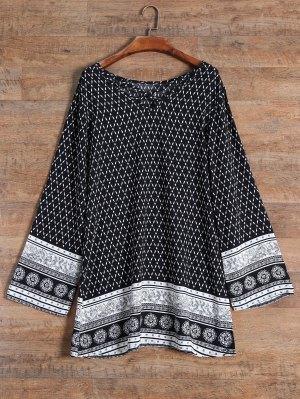 Patterned Strappy Dress - Black
