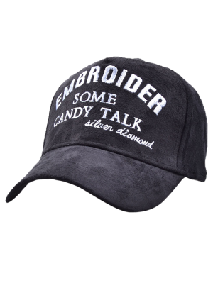 Letters Embroidery Faux Suede Baseball Hat - Black