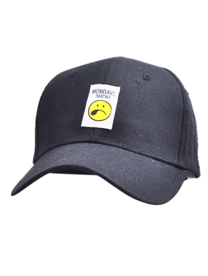 Letters Face Embroidery Baseball Hat - Black