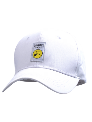 Letters Face Embroidery Baseball Hat - White
