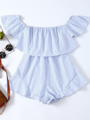 Frilly Off The Shoulder Beach Romper - Blue And White