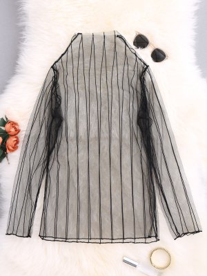 Striped See-Through Blouse - Black