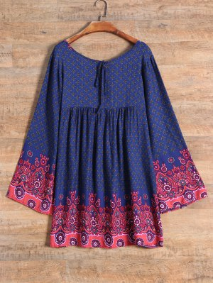 Full Sleeve Tiny Floral Smock Dress - Purplish Blue