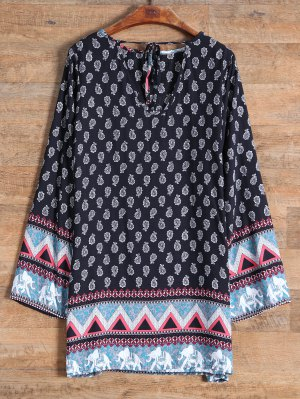 Long Sleeve Elephant Printed Dress - Black