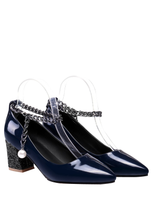 Block Heel Chain Faux Pearl Pumps - Deep Blue