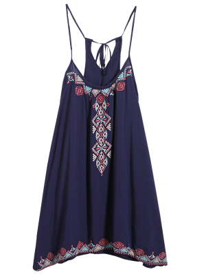 Spaghetti Strap Dress - Purplish Blue