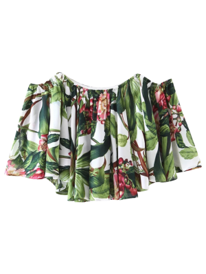 Tropical Off Shoulder Blouse - Floral