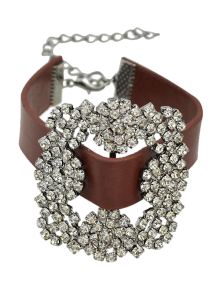 Rhinestone Faux Leather Flower Bracelet