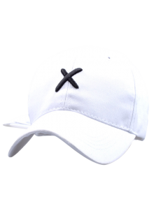 Cross Embroidery Baseball Hat - White