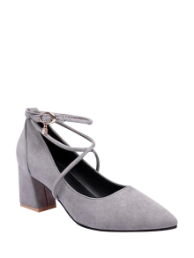 Block Heel Cross Strap Rhinestone Pumps - Gray 38