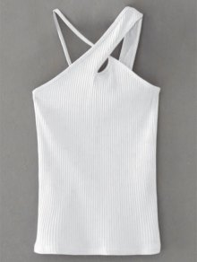Cross Front Asymmetric Ribbed Top