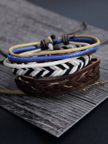Faux Leather Rope Woven Bracelet Set - Multicolor