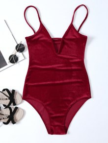 High Cut Velvet Cami Bodysuit - Red