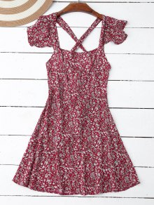 Ruffles Tiny Floral Cross Back Dress - Red