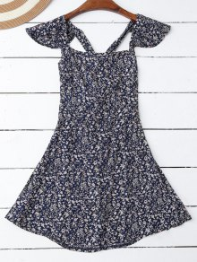 Ruffles Tiny Floral Cross Back Dress - Purplish Blue