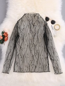 Creepers Print See-Through Blouse